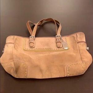 Suede Coach satchel shoulder bag